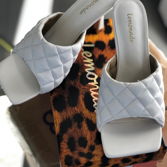 White Square Toe Quilted Mules Tropez